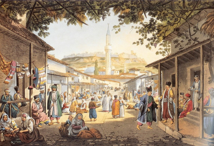 Upper Bazaar of Athens by Edward Dodwell