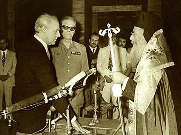 Karamanlis taking the oath of office in Athens
